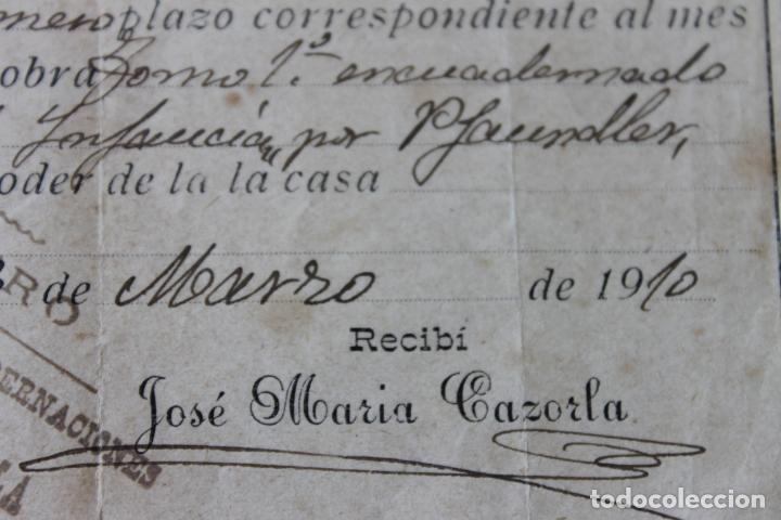 Documentos antiguos: RECIBO VENTA DE LIBROS A PLAZOS, MURCIA MARZO 1910 - Foto 3 - 218354118