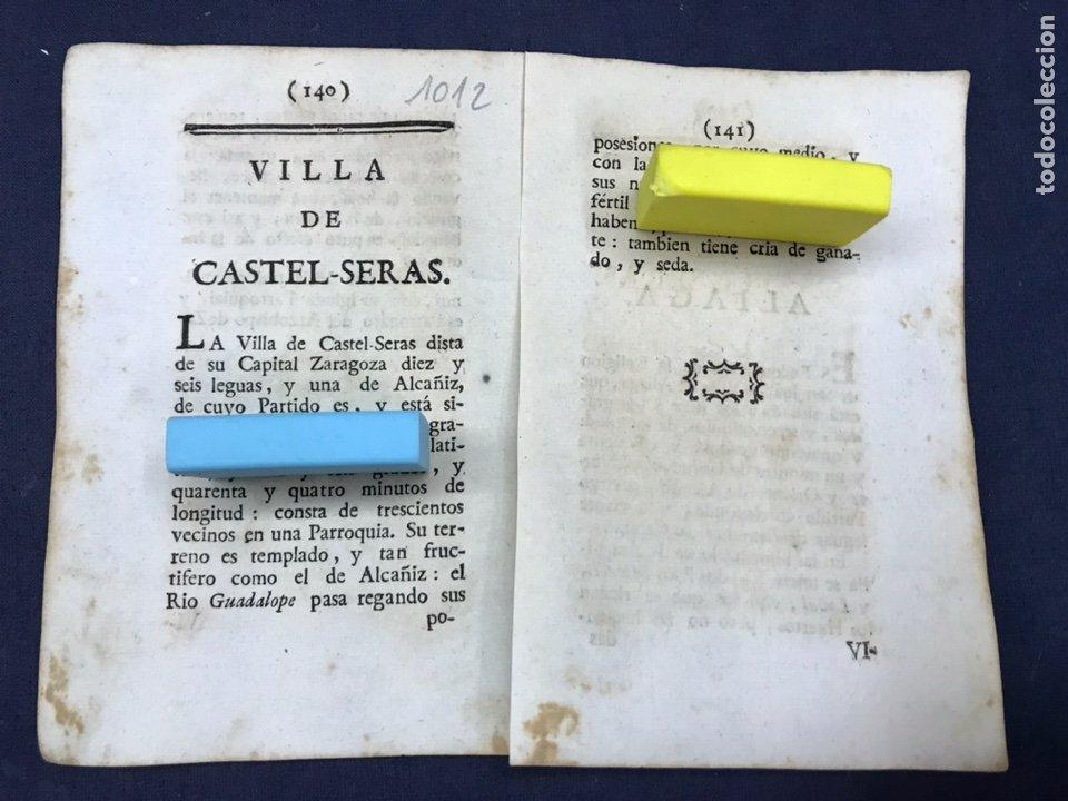 DESCRIPCIÓN DE LA VILLA DE CASTELSERAS, DEL AÑO 1779. IMPRESO ORIGINAL. (Coleccionismo - Documentos - Otros documentos)