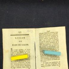 Documentos antiguos: DESCRIPCIÓN DE LA VILLA DE FUENDEJALÓN, DEL AÑO 1779. IMPRESO ORIGINAL.. Lote 218417728