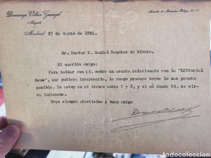 Documentos antiguos: Carta firmada por el abogado Domingo Villar Grangel al Dr. Sánchez de Rivera - Foto 3 - 218628455