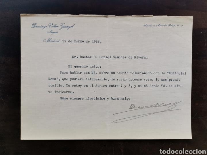 CARTA FIRMADA POR EL ABOGADO DOMINGO VILLAR GRANGEL AL DR. SÁNCHEZ DE RIVERA (Coleccionismo - Documentos - Otros documentos)