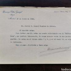 Documentos antiguos: CARTA FIRMADA POR EL ABOGADO DOMINGO VILLAR GRANGEL AL DR. SÁNCHEZ DE RIVERA. Lote 218628455