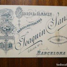 Documentos antiguos: TARJETA DE VISITA - FÁBRICA Y ALMACÉN DE PAÑOS Y NOVEDADES JOAQUIN SANS BARCELONA TARRASA - 1889. Lote 219006632