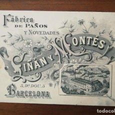 Documentos antiguos: TARJETA DE VISITA - FÁBRICA DE PAÑOS Y NOVEDADES LIÑÁN Y MONTES - BARCELONA DOCTOR DOU, 5 - 1896. Lote 219039651