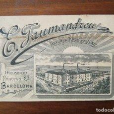 Documentos antiguos: TARJETA DE VISITA - FÁBRICA DE GÉNEROS DE PUNTO E. JAUMANDREU - BARCELONA PRINCESA, 23 - 1896. Lote 219041453