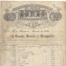 Documents Anciens: FACTURA ANTIGUA- GRANDES ALMACENES DE EL SIGLO. FÁBRICA DE GUANTES... 20 OCTUBRE- 1899 (CON TIMBRE). Lote 219312218