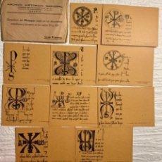 Documentos antiguos: DIEZ TARJETAS CON EJEMPLARES DEL CHRISMON SIGLOS XII Y XIII. ARCHIVO HISTÓRICO NACIONAL. 1941. Lote 219344512