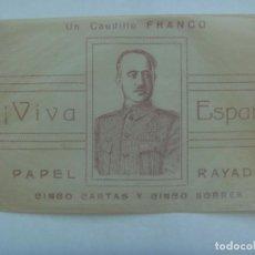 Documentos antiguos: GUERRA CIVIL : ESTUCHE DE LAS CARTAS CON IMAGEN DEL CAUDILLO FRANCO , ¡ VIVA ESPAÑA !. Lote 219346818