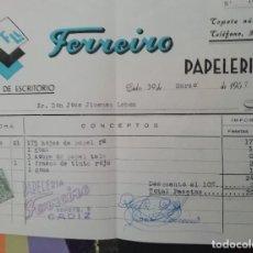 Documenti antichi: CÁDIZ FACTURA DE LA PAPELERÍA FERRERO CÁDIZ 1957. Lote 219413428