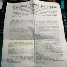 Documentos antiguos: DOCUMENTO D.RAMON BARÓN DE MEER - 1838 -. Lote 219434211