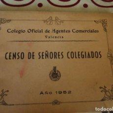 Documentos antiguos: CENSO DE SEÑORES COLEGIADOS EN VALENCIA, 1952. Lote 219843827