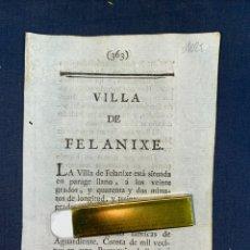 Documentos antiguos: DESCRIPCIÓN DE LA VILLA DE FELANICH, DEL AÑO 1779. IMPRESO ORIGINAL. BALEARES.. Lote 220090562