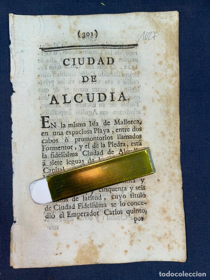 DESCRIPCIÓN DE LA CIUDAD DE ALCUDIA, DEL AÑO 1779. IMPRESO ORIGINAL. BALEARES. (Coleccionismo - Documentos - Otros documentos)