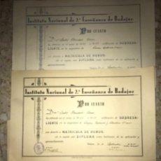Documentos antiguos: LOTE ANTIGUOS DIPLOMAS INSTITUTO NACIONAL SEGUNDA ENSEÑANZA BADAJOZ GUERRA CIVIL. Lote 220257947