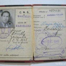 Documentos antiguos: C.N.S.-DELEGACION PROVINCIAL SINDICATOS BARCELONA-CARTILLA PROFESIONAL-AÑOS 40-VER FOTOS(-K-648). Lote 220285957
