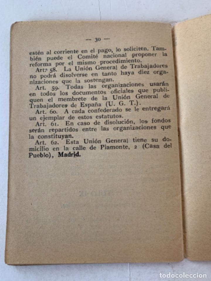 Documentos antiguos: Estatutos de la Unión General de Trabajadores, documento - Foto 3 - 220849471