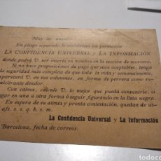 Documenti antichi: CURIOSA TARJETA, REGISTRO GENERAL DE DEUDORES MOROSOS, PERIÓDICOS LA CONFIDENCIA UNIVERSAL Y LA INFO. Lote 221310483