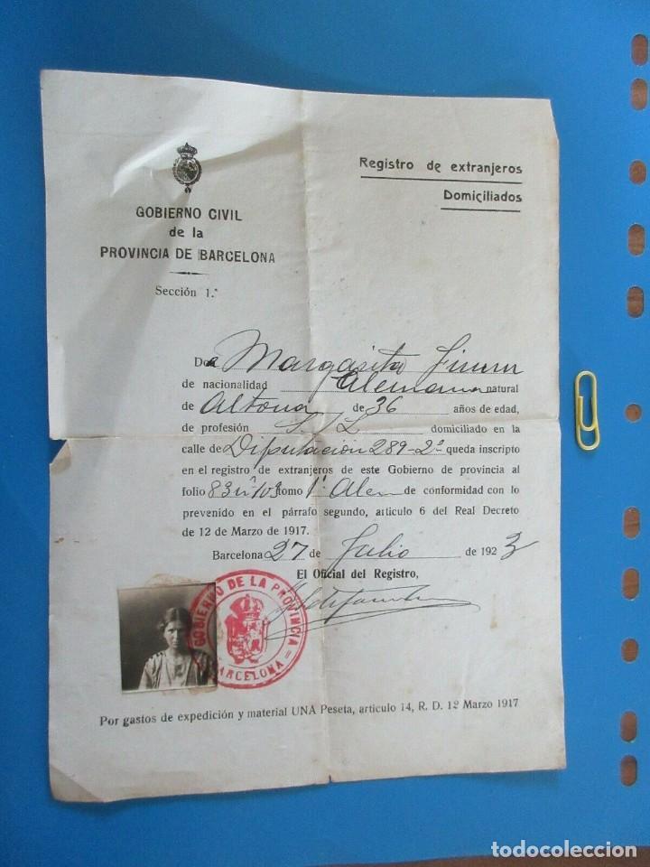 BARCELONA 1923 REGISTRO DE EXTRANJEROS DOMICILIADOS. GOBIERNO CIVIL DE LA PROVINCIA DE BARCELONA (Coleccionismo - Documentos - Otros documentos)