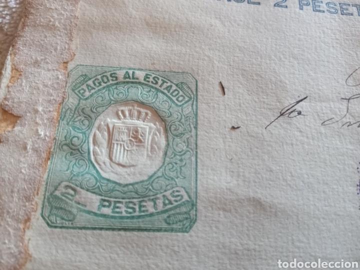 Documentos antiguos: Timbre póliza Pago al Estado de 1904. 2 pesetas. - Foto 3 - 221578586