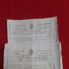 Documentos antiguos: DOS RECIBOS DE PAGO DE CONTRIBUCIÓN TERRITORIAL RIQUEZA RÚSTICA BENIAJÁN MURCIA AÑO 1925-26. Lote 221708365