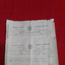 Documentos antiguos: DOS RECIBOS DE PAGO CONTRIBUCIÓN TERRITORIAL RIQUEZA RÚSTICA. MURCIA AÑO 1927. Lote 221709423