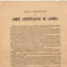 Documentos antiguos: 1884 ALEGATO, EN FAVOR DE PARTIDO CONSTITUCIONAL Y DE SAGASTA, DEL PRESIDENTE DEL PARTIDO EN CAZORLA. Lote 221838295
