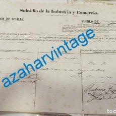 Documentos antiguos: CASTILLEJA DE LA CUESTA, 1864, SUBSIDIO DE INDUSTRIA Y COMERCIO DE UNA ABACERIA, MUY RARA. Lote 221955918