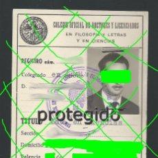 Documentos antiguos: D. MANUEL R. C. LDO.EN CIENCIAS QUÍMICAS. MURCIA. COL. OF. DE DOCTORES Y LICENCIADOS. VALENCIA. 1961. Lote 221980540