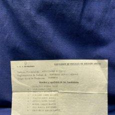 Documentos antiguos: CENTRO NACIONAL SINDICATOS ELECCIONES VOCALES MADRID PORTERIA PORTEROS FINCAS URBANAS CANDIDATOS. Lote 221985968
