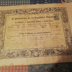 Documentos antiguos: DIPLOMA MAESTRA 1936. Lote 221986061