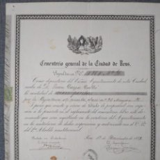 Documentos antiguos: TITULO DEL CEMENTERIO GENERAL DE REUS - 1889. Lote 222018762