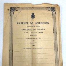 Documentos antiguos: PATENTE DE INVENCION DE OBTURADOR VAGINAL Y RECTAL. AÑO 1923. CURIOSIDAD. Lote 222024141
