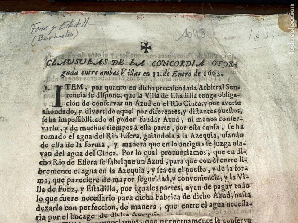 Documentos antiguos: 1663-1726. CLAUSULAS DE LA CONCORDIA ENTRE LA VILLA DE FONZ Y LA DE ESTADILLA. HUESCA. Y PLEYTO. 2 - Foto 2 - 222064872