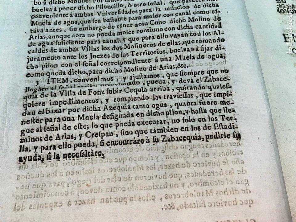 Documentos antiguos: 1663-1726. CLAUSULAS DE LA CONCORDIA ENTRE LA VILLA DE FONZ Y LA DE ESTADILLA. HUESCA. Y PLEYTO. 2 - Foto 5 - 222064872