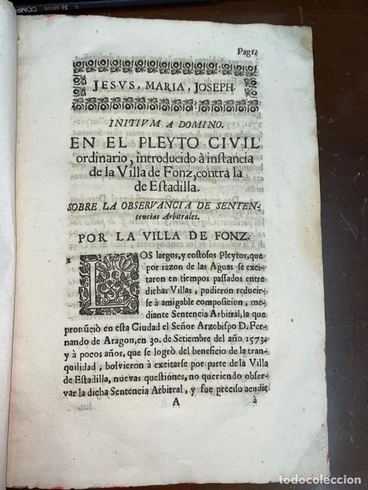 Documentos antiguos: 1663-1726. CLAUSULAS DE LA CONCORDIA ENTRE LA VILLA DE FONZ Y LA DE ESTADILLA. HUESCA. Y PLEYTO. 2 - Foto 6 - 222064872