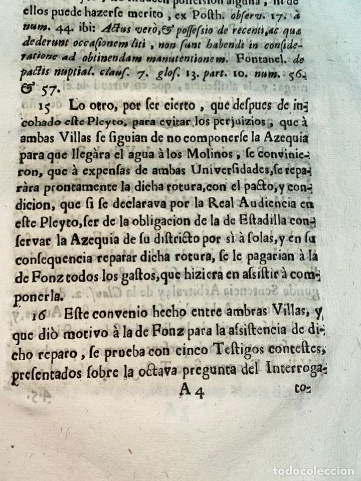 Documentos antiguos: 1663-1726. CLAUSULAS DE LA CONCORDIA ENTRE LA VILLA DE FONZ Y LA DE ESTADILLA. HUESCA. Y PLEYTO. 2 - Foto 9 - 222064872