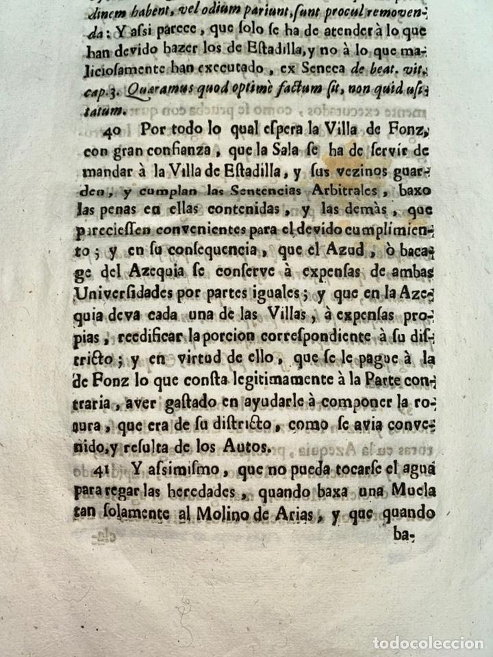 Documentos antiguos: 1663-1726. CLAUSULAS DE LA CONCORDIA ENTRE LA VILLA DE FONZ Y LA DE ESTADILLA. HUESCA. Y PLEYTO. 2 - Foto 14 - 222064872
