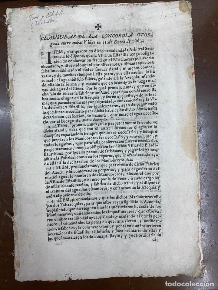 1663-1726. CLAUSULAS DE LA CONCORDIA ENTRE LA VILLA DE FONZ Y LA DE ESTADILLA. HUESCA. Y PLEYTO. 2 (Coleccionismo - Documentos - Otros documentos)