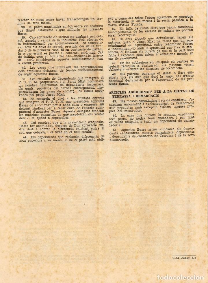 Documentos antiguos: 1933 FRONT UNIC DE TREBALLADORS MERCANTILS Bases de Treball -impulsat per C.N.T, U.G.T. i C.A.D.C.I. - Foto 3 - 222077075