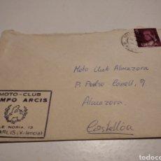Documentos antiguos: SOBRE CUÑO MOTO CLUB CAMPO ARCIS,. Lote 222082980
