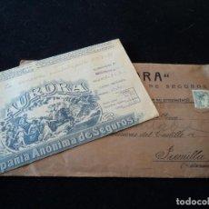 Documentos antiguos: PÓLIZA DE SEGUROS DE LA COMPAÑÍA ANÓNIMA DE SEGUROS AURORA, CON SU SOBRE, SEPTIEMBRE 1939 JUMILLA. Lote 222192288