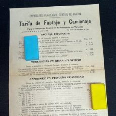 Documentos antiguos: 1914. TARIFA CAMIONAJE COMPAÑÍA FERROCARRIL CENTRAL ARAGÓN. COMPAÑÍA EN VALENCIA.. Lote 222469200
