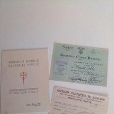 Documentos antiguos: LOTE CARNETS BILBAO VEGETARIANOS, CÁNCER, CORAL BARACALDO. Lote 222538806