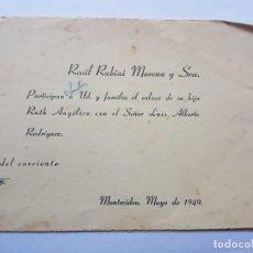 Documentos antiguos: INVITACION A CASAMIENTO, BODA. INVITATION TO WEDDING INVITATION AU MARIAGE 1949. Lote 222617476