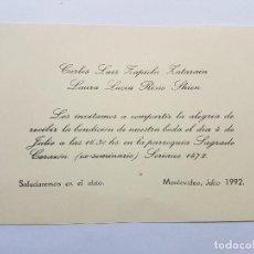 Documentos antiguos: INVITACION A CASAMIENTO, BODA. INVITATION TO WEDDING INVITATION AU MARIAGE 1992. Lote 222617485
