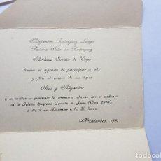 Documentos antiguos: INVITACION A CASAMIENTO, BODA. INVITATION TO WEDDING INVITATION AU MARIAGE 1961. Lote 222617560