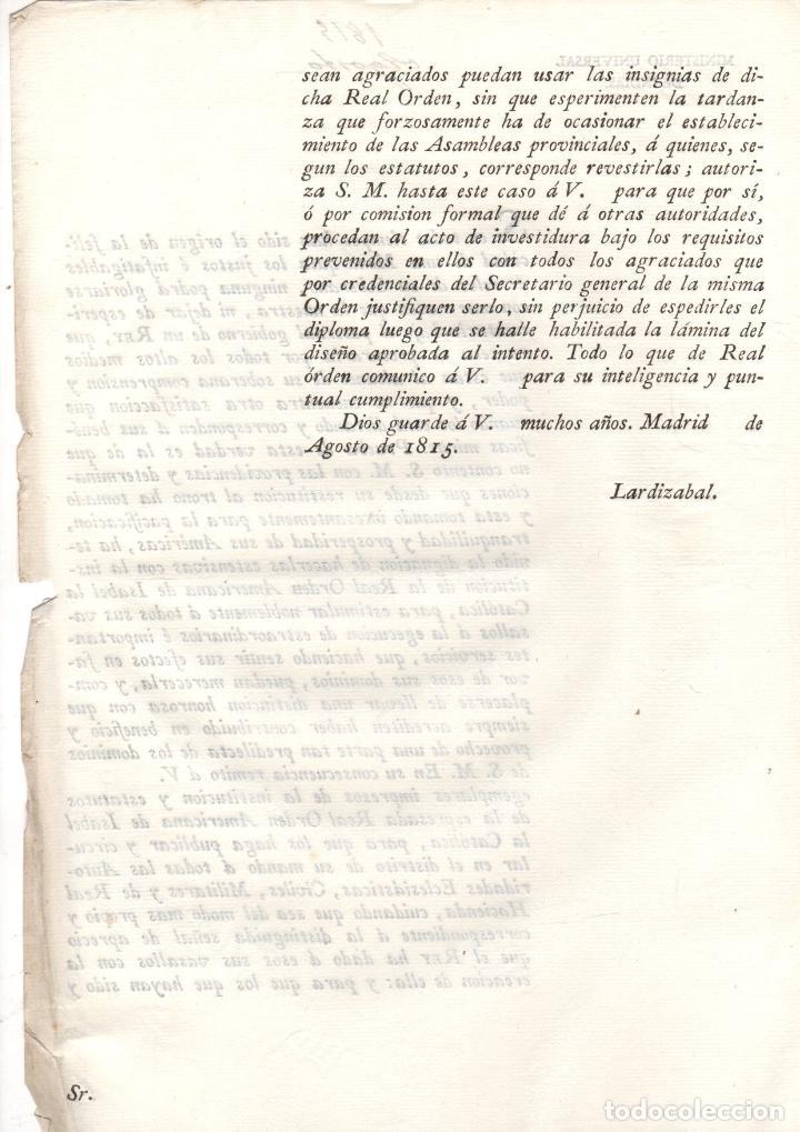 Documentos antiguos: ORDEN REAL SOBRE LA RESTITUCION DE LA REAL ORDEN AMERICANA DE ISABEL LA CATOLICA 1815 - Foto 2 - 222641620