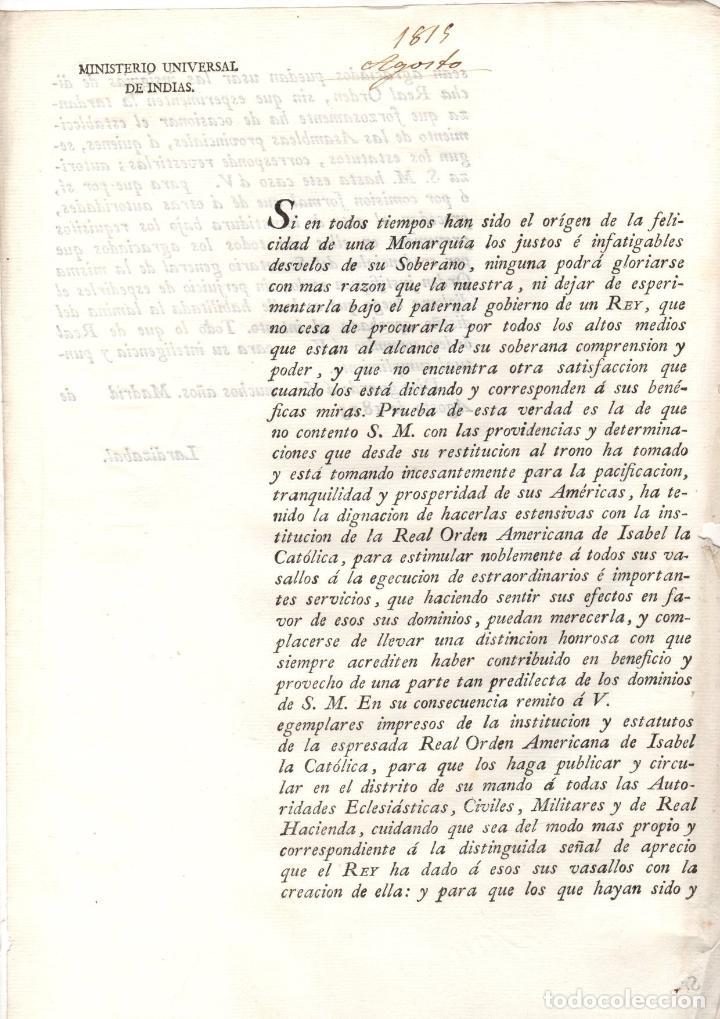 ORDEN REAL SOBRE LA RESTITUCION DE LA REAL ORDEN AMERICANA DE ISABEL LA CATOLICA 1815 (Coleccionismo - Documentos - Otros documentos)
