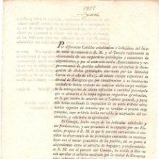 Documentos antiguos: ORDEN REAL SOBRE REGULACION DE ALOJAMIENTOS A MILITARES EN LA CIUDAD DE ZARAGOZA. 1815. Lote 222642007