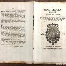 Documentos antiguos: CEDULA REAL DANDO TRATAMIENTO DE SEÑORIA A TODA PERSONA QUE TENGA TITULO DE SECRETARIO. MANRESA 1803. Lote 222642668